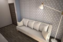 036. pokoj goscinny z biblioteczka drewno bialy niebieski room shelfbook wood white blue