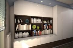 037.  pokoj goscinny z biblioteczka drewno bialy niebieski room shelfbook wood white blue