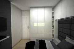 039. sypialnia z lozkiem tapicerowanym i blyszczaca zabudowa podloga panele pergo bedroom big bed gloss white grey
