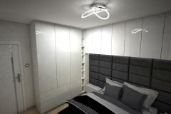 040. sypialnia z lozkiem tapicerowanym i blyszczaca zabudowa podloga panele pergo bedroom big bed gloss white grey