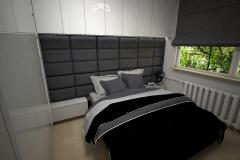 041. sypialnia z lozkiem tapicerowanym i blyszczaca zabudowa podloga panele pergo bedroom big bed gloss white grey