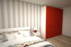 042. sypialania z czerwona szafa ikea tapeta w pasy biale sciany bedroom with red wardrobe wallpaper strips
