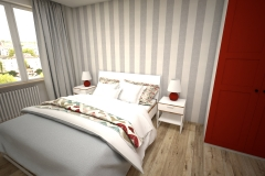 043. sypialania z czerwona szafa ikea tapeta w pasy biale sciany bedroom with red wardrobe wallpaper strips