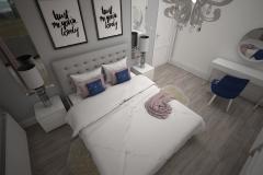 044. biala sypialnia z rozowym i granatowym akcentem white bedroom with pink and dark blue accent