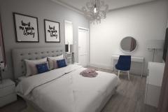 045. biala sypialnia z rozowym i granatowym akcentem white bedroom with pink and dark blue accent