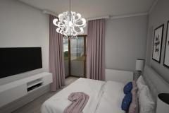 046. biala sypialnia z rozowym i granatowym akcentem white bedroom with pink and dark blue accent