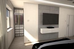 047. szaro biala sypialnia z betonem i lozkiem z tapicerowanym wezglowiem grey and white bedroom concrete wood