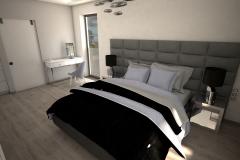 048. szaro biala sypialnia z betonem i lozkiem z tapicerowanym wezglowiem grey and white bedroom concrete wood