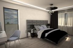 049. szaro biala sypialnia z betonem i lozkiem z tapicerowanym wezglowiem grey and white bedroom concrete wood