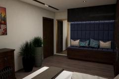 050. sypialnia w stylu kolonialnym z tapicerowanym granatowym siedziskiem  ze zlotymi i miedzianymi dodatkami colonial bedroom dark blue gold cooper