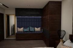 051. sypialnia w stylu kolonialnym z tapicerowanym granatowym siedziskiem  ze zlotymi i miedzianymi dodatkami colonial bedroom dark blue gold cooper
