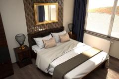 052. sypialnia w stylu kolonialnym z tapicerowanym granatowym siedziskiem  ze zlotymi i miedzianymi dodatkami colonial bedroom dark blue gold cooper