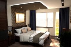 053. sypialnia w stylu kolonialnym z tapicerowanym granatowym siedziskiem  ze zlotymi i miedzianymi dodatkami colonial bedroom dark blue gold cooper