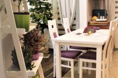0035. realizacja salon prowansalski lawendowy fioletowy jadalnia bialy drewno realisation livingroom lavender purple violet white wood