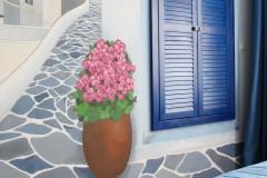 040. sypialnia z greckim motywem drewno biel niebieski cotton balls bedroom wood white blue