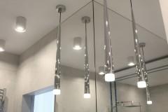 052. lazienka szara z mozaika goccia turkus beton wanna wolnostojaca chrom prysznic walk in bathroom mosaic turquoise concrete free-standing bathtub