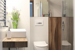 066. mała łazienka biała płytki drewnopodobne lustro umywalka bocchi baterie sapho small bathroom white tiles wood mirror bathroomtap bathroom sink